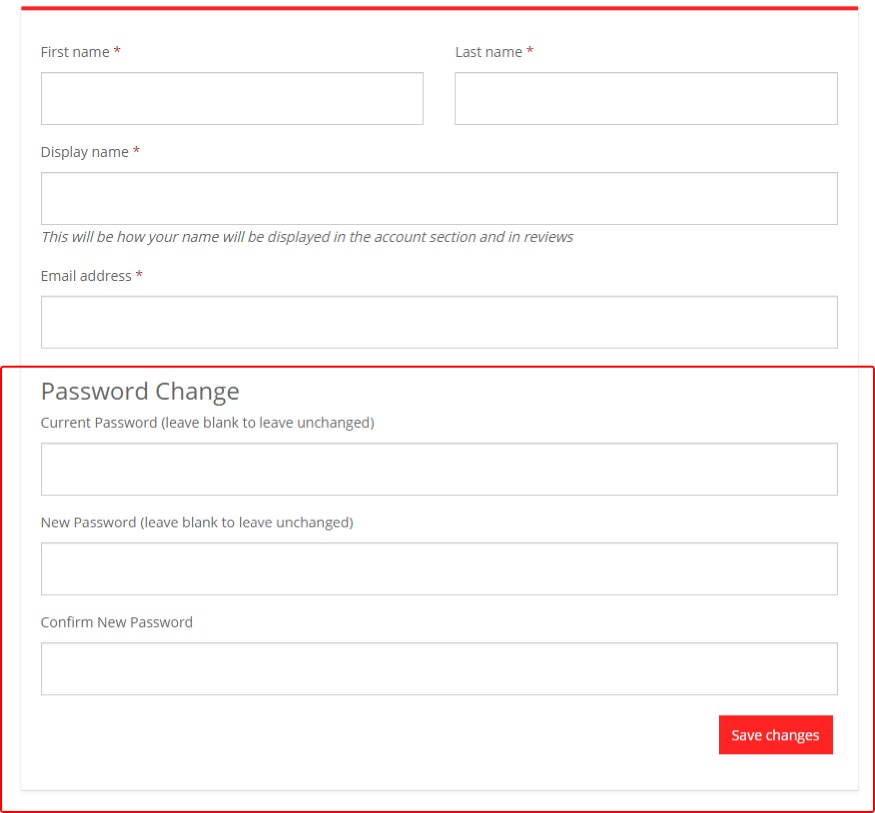 Change your password in your Account Dashboard