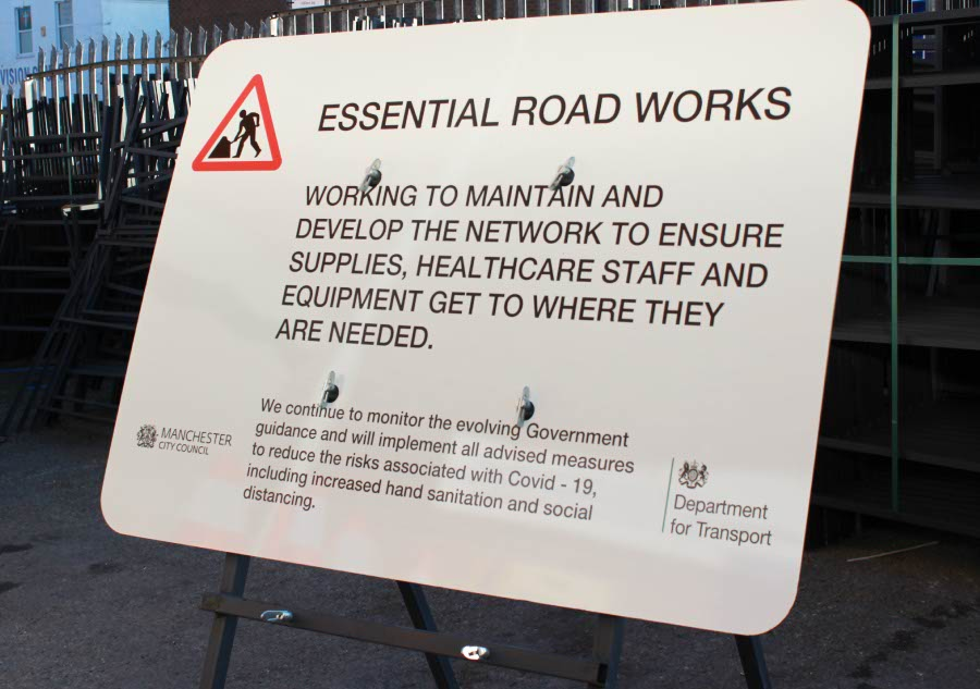 A bespoke traffic sign made for essential road works