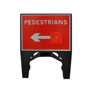 600mm - Pedestrians with Reversible Arrow Q-Sign