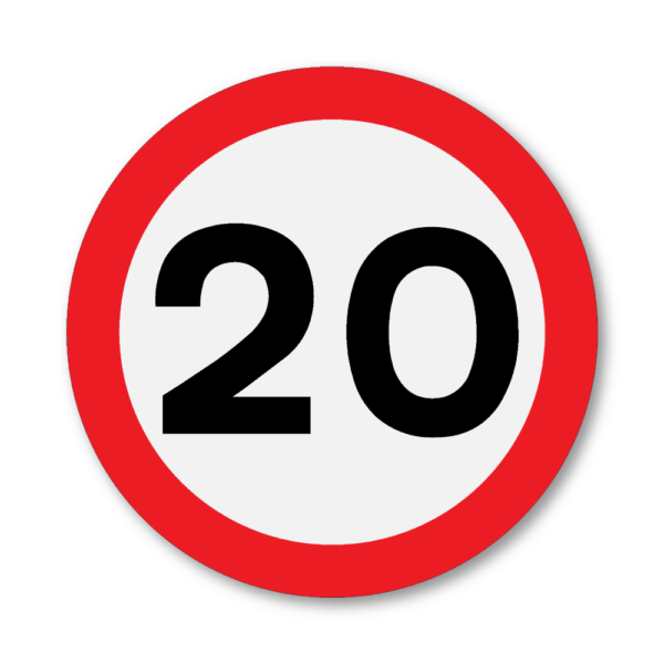 20mph Speed Limit Sign in RA2 on Composite with Rails