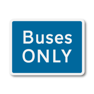 Buses Only Road Sign in RA1 on Composite with Rails