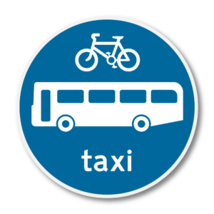Cycle, Bus & Taxi Lane Road Sign in RA3b on Composite with Rails
