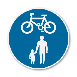 Cycle & Pedestrian Road Sign in RA2 on Composite with Rails