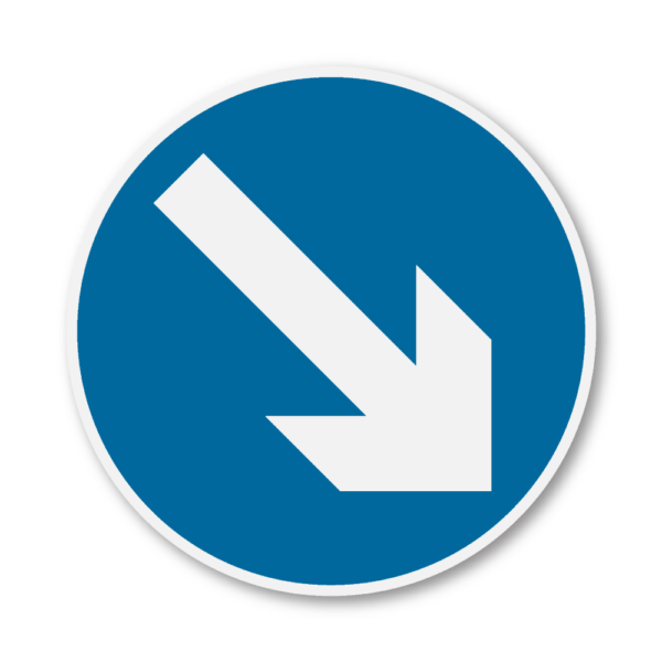 Keep Right Road Sign in RA3b on Composite with Rails