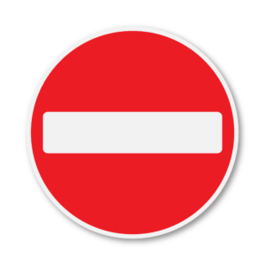 No Entry Road Sign in RA1 on Composite with Rails
