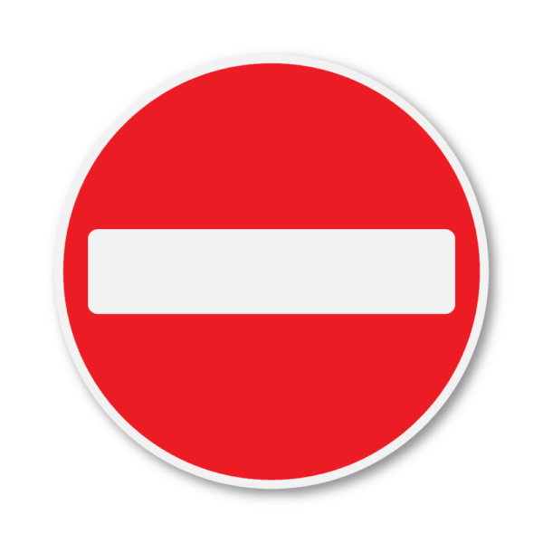 No Entry Road Sign in RA2 on Composite with Rails