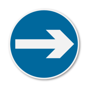 One Way Round Road Sign in RA3b on Composite with Rails
