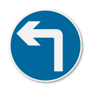 Turn Left Ahead Road Sign in RA1 on Composite with Rails