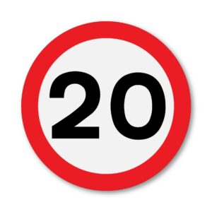 20 MPH Speed Limit Sign for Posts