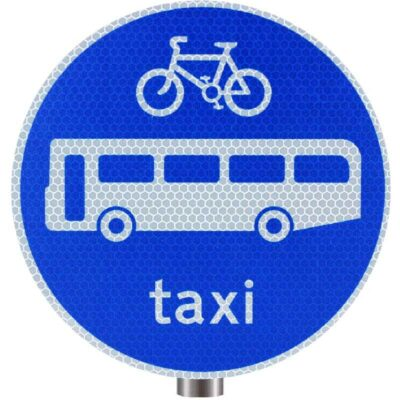 Tennants Bicycles Buses and Taxis Only Sign for Posts