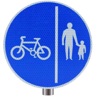 Tennants Cyclists Keep Left Sign for Posts