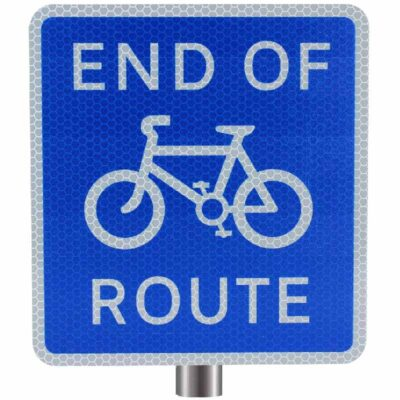 Tennants End of Cycle Route Sign for Posts