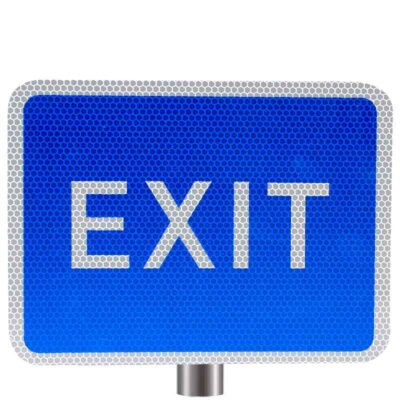 Tennants Blue Exit Sign for Posts