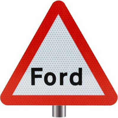 Tennants Ford Ahead Sign for Posts