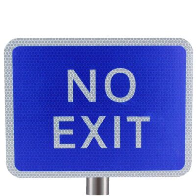 Tennants - Blue No Exit Sign for Posts