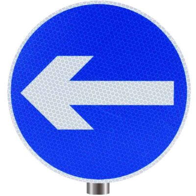 Tennants One Way Round Sign for Posts - Left Arrow