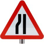 Tennants-Road-Narrows-Left-Sign-for-Posts