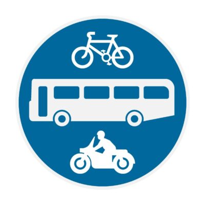 Bicycles-Buses-and-Motorcycles-Only-Sign-for-Posts-diagram-953a